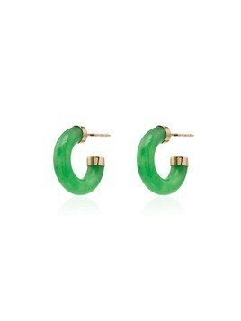 Loren Stewart 14kt gold jade mini hoops - Green