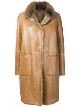 Manzoni 24 shearling lined coat - Brown