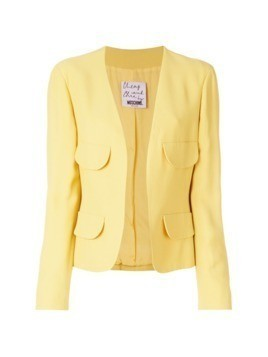 Moschino Pre-Owned flap-pocket collarless jacket - Yellow