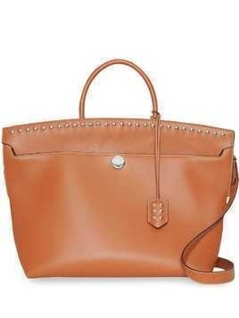 Burberry Studded Leather Society Top Handle Bag - Brown