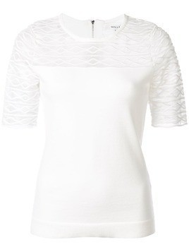 Milly embroidered panel T-shirt - White