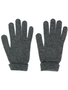 Lamberto Losani ribbed knit detail gloves - Grey