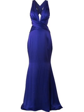 Romona Keveza backless crossover gown - Purple