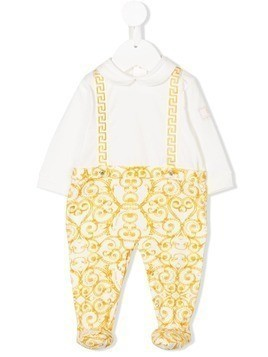 Young Versace baroque printed romper - White