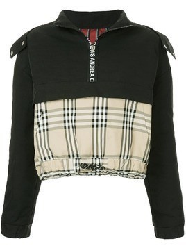 Andrea Crews mixed fabric half zip hoodie - Black