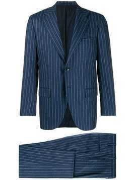 Kiton striped suit jacket - Blue