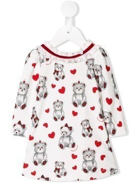 Monnalisa teddy bear print dress - White