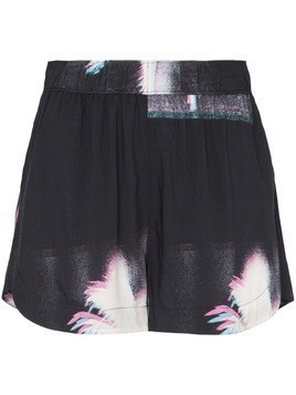 Double Rainbouu palm tree print shorts - Black