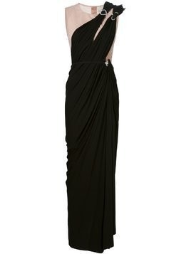 Lanvin overlay draped evening dress - Black