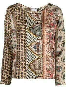 Pierre-Louis Mascia paisley-print long-sleeve silk top - Neutrals