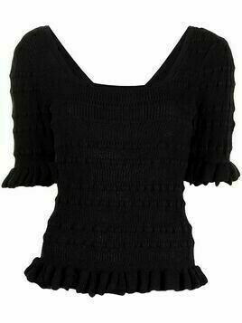 Adam Lippes ribbed knitted short-sleeve top - Black