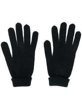 Lamberto Losani ribbed knit detail gloves - Black