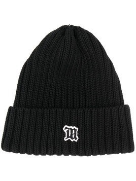 Misbhv logo patch knitted beanie - Black