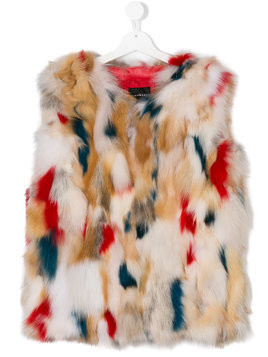 John Richmond Kids TEEN fox fur gilet - Nude & Neutrals