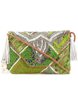Antik Batik embellished foldover clutch - Green