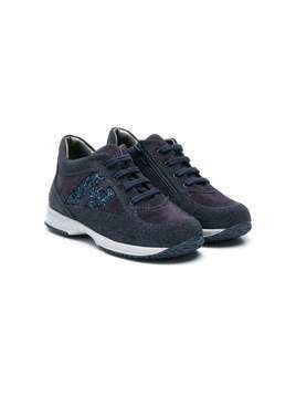 Hogan Kids Interactive glitter sneakers - Blue