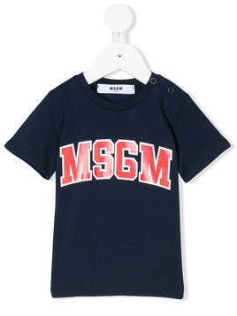Msgm Kids logo print T-shirt - Blue