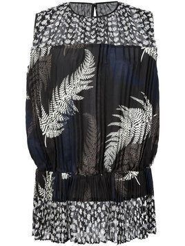 Sacai pleated fern print top - Black