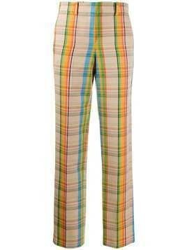 Loewe checked high-waist trousers - NEUTRALS