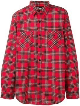 Les (Art)Ists checked logo print shirt - Red