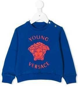 Young Versace logo printed sweatshirt - Blue