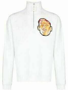 JW Anderson embroidered face half-zip sweater - White