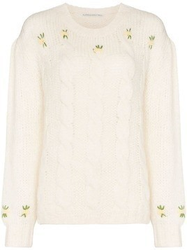 Alessandra Rich floral-embroidered jumper - White