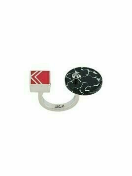 Karl Lagerfeld colour-block open knuckle duster ring - Metallic