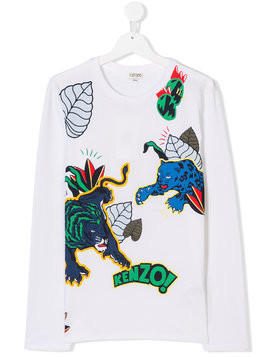 Kenzo Kids TEEN jungle print T-shirt - White