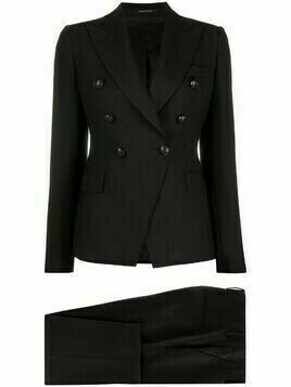 Tagliatore double-breasted diagonally cut suit - Black