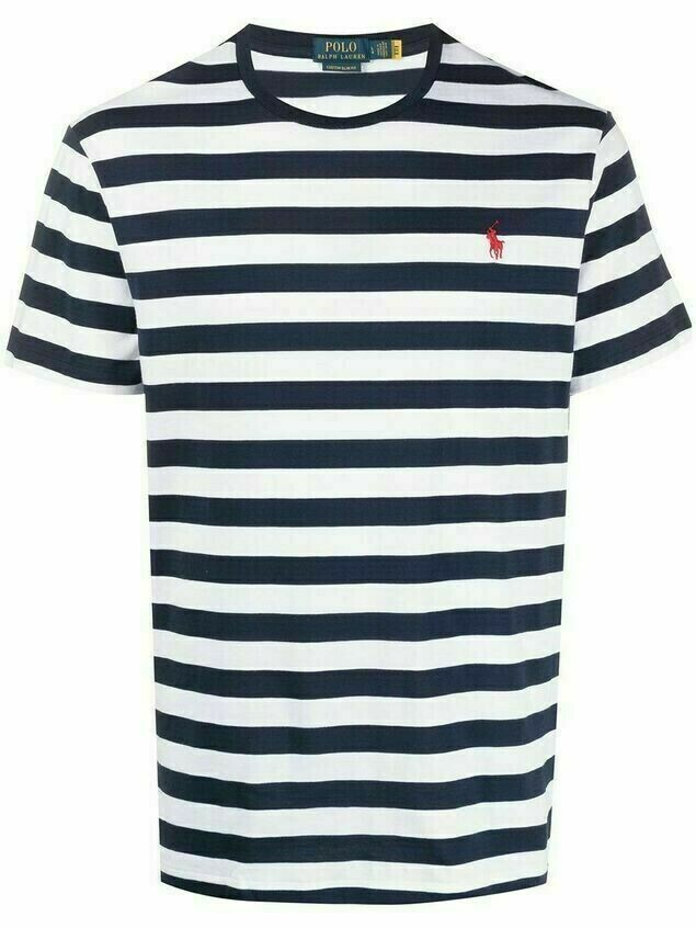 Polo Ralph Lauren stripe-print embroidered-logo T-Shirt - White