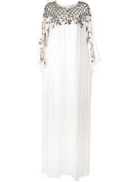 Marchesa crystal embroidered kaftan gown - White