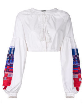 Wandering embroidered sleeves cropped blouse - White