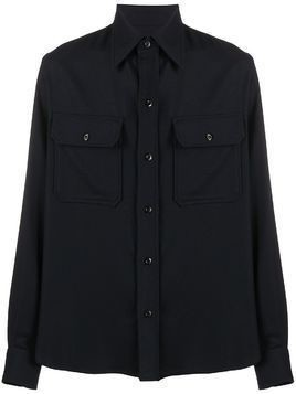 AMI chest pockets buttoned overshirt - Blue