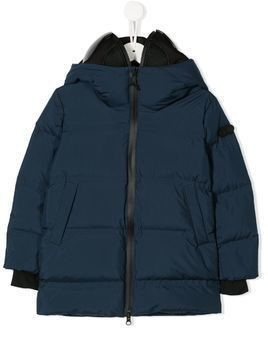 AI Riders on the Storm hooded quilted coat - Blue