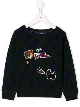 Ralph Lauren Kids patch detail check sweatshirt - Blue