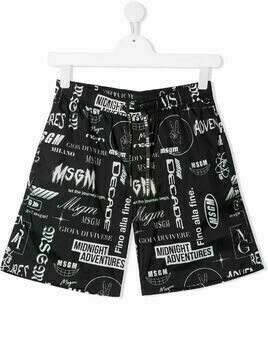 Msgm Kids TEEN logo-print swim shorts - Black