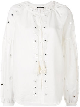 Wandering hole embellished shirt - White