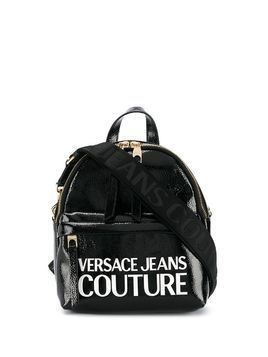 Versace Jeans Couture logo-print patent-effect backpack - Black