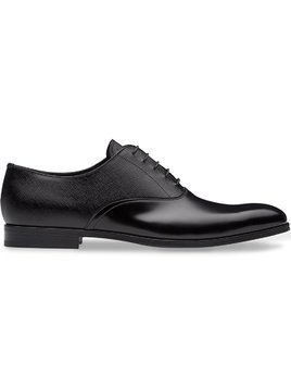 Prada dual-texture Oxford shoes - Black