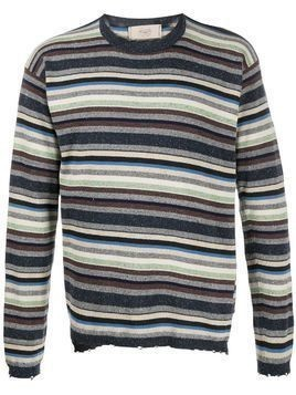 Maison Flaneur striped distressed jumper - Grey
