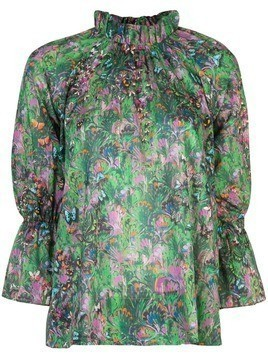 Cynthia Rowley Butterfly Waterfall Blouse - Green