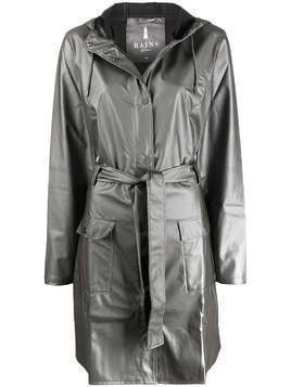 Rains tie-waist mid-length coat - Grey