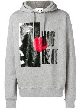 Amen Big Beat graphic print hoodie - Grey