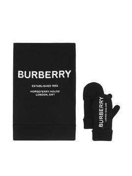 Burberry Kids Embroidered Merino Wool Two-piece Gift Set - Black
