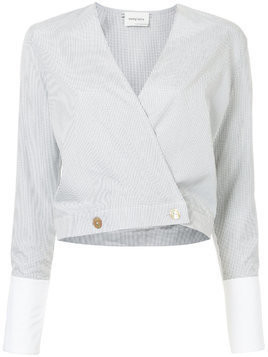 Monographie cropped wrap jacket - White