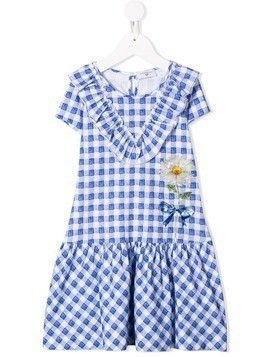 Monnalisa floral checked dress - Blue