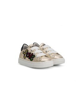 Am66 Love print metallic trainers - Gold
