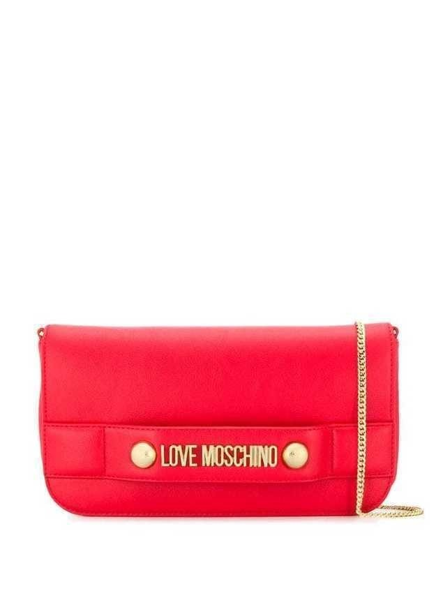 Love Moschino logo-embellished clutch - Red