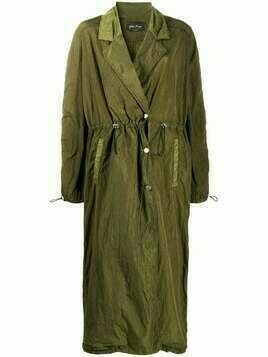 Andrea Ya'aqov drawstring long trench coat - Green